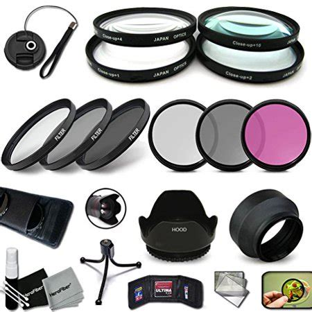 pro 58mm lens filters + 58mm lens hood kit for canon eos
