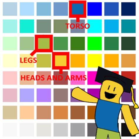 roblox color codes correct noob colors roblox