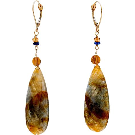 sapphire 18k yellow gold dangle earrings from btwisted on