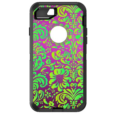 Floral Iphone 6 6s 7 8 X Plus custom otterbox defender for iphone 6 6s 7 plus purple