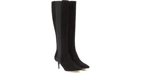 jimmy choo faith 65 knee high suede boots in black lyst