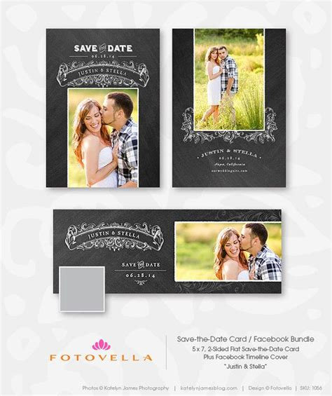 Foliage 5x7 Card Psd Template by Save The Date Photoshop Template Bundle Cover