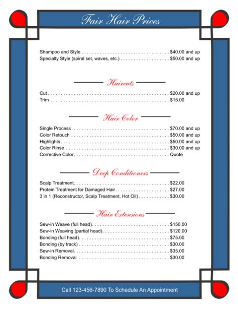 business price list template free business stationary templates cards letterheads