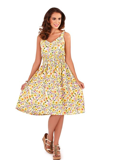 Dress Summer Lover 22 summer womens new floral tropical print skater midi dress uk size 8 22 ebay