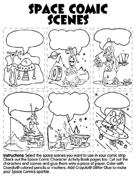 blank comic strip speech bubbles template sketch coloring page