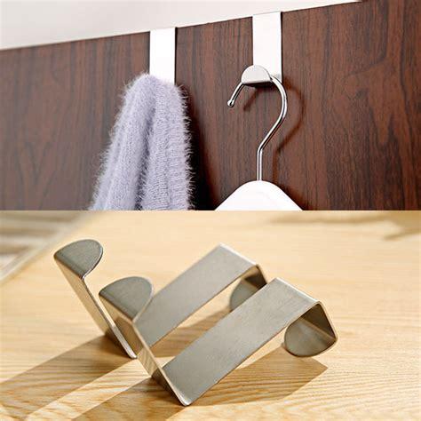 bathroom clothes hanger 4pcs stainless steel metal over door hooks kitchen cabinet