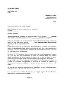 Exemple gratuit de Lettre résiliation abonnement Universal