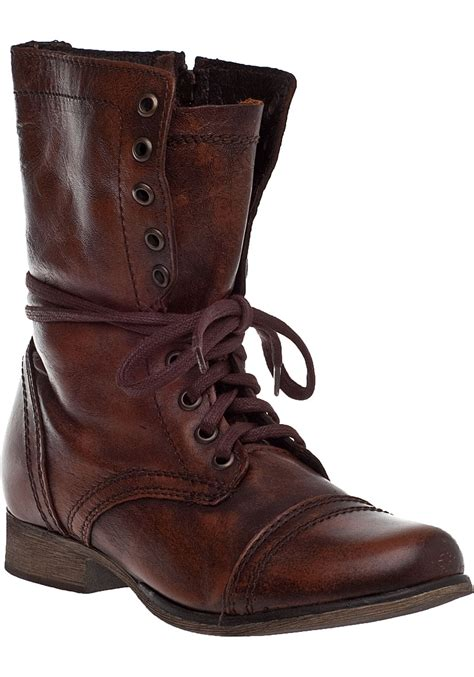 lyst steve madden troopa lace up boot brown leather in brown
