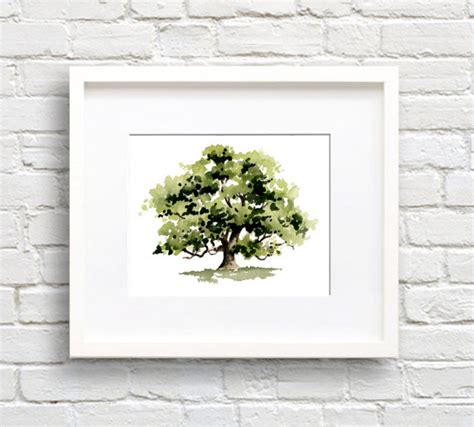 Wall Decor Printed Poster Poster Kayu Oak Tree oak tree print wall decor watercolor painting
