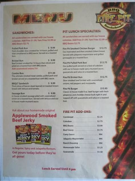 Firepit Menu Menu 2 Picture Of Pit Bbq Smokehouse Golden Tripadvisor