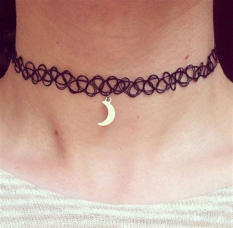 tattoo chocker the tiny moon choker crescent half moon black 90