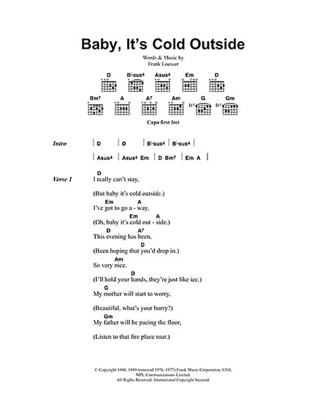 baby it s cold outside printable lyrics baby it s cold outside sheet music by tom jones cerys