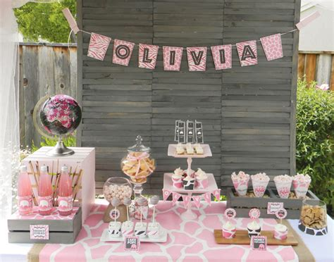 girl baby shower table decorations pink safari baby shower dessert table 171 miss a 174 charity