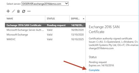 Request Letter Sle Certificate Completing A Pending Certificate Request For Exchange 2016
