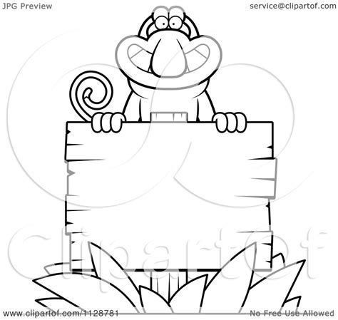 proboscis monkey coloring page cartoon clipart of an outlined proboscis monkey behind a