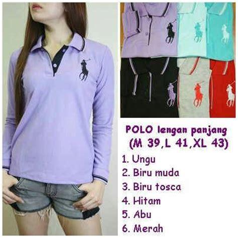 Kaos Polo Shirt Wanita Tangan Panjang 2 jual kaos berkerah polo shirt lengan panjang wanita murah