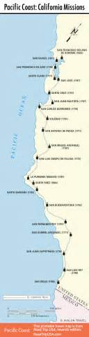map of missions el camino real and the california missions pacific coast