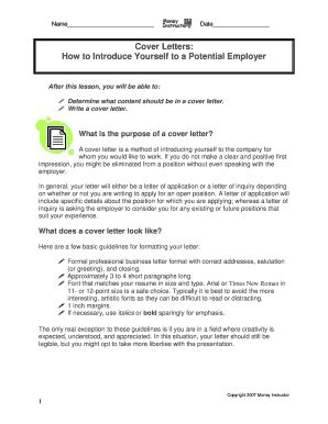 Exle Email Cover Letter Potential Employer Fillable Cover Letters How To Introduce Yourself To A Potential Employer Fax Email Print