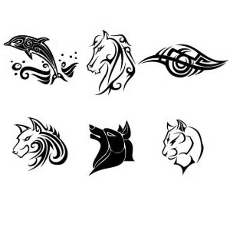 tattoo vector images simple tattoos collection with dolphin horse wolf tiger
