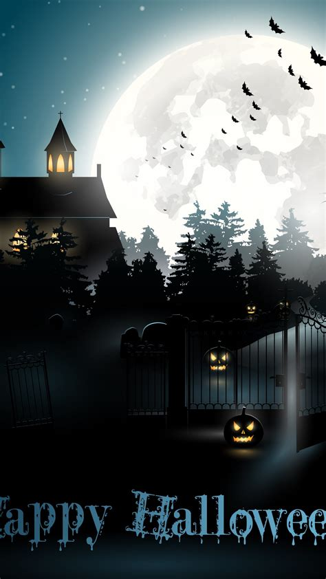 wallpaper halloween moon cemetery night pumpkin holidays