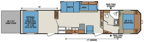 toy hauler travel trailer floor plans 2016 sportsmen sportster 365th12 fifth wheel toy hauler