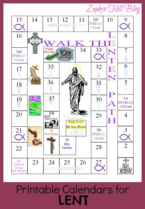 Lent Calendar Lenten Calendar For Children Calendar Template 2016