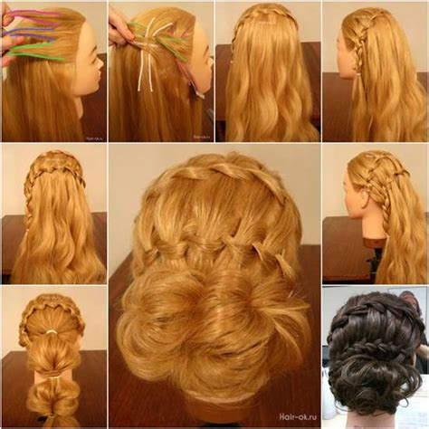 make a bun wth braiding hair how to diy double waterfall braided bun hairstyle