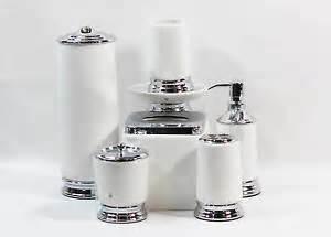 White And Silver Bathroom Accessories Hotel Balfour Seven White Ceramic And Silver Bathroom Accessory Set Ebay