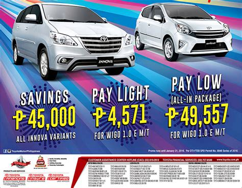 Toyota Philippines Promo Toyota Ph Greets 2016 With Happy New Wheels Promo Car Deals