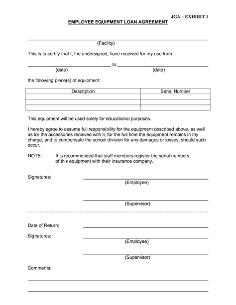 employee loan agreement template best photos of employee equipment form template employee