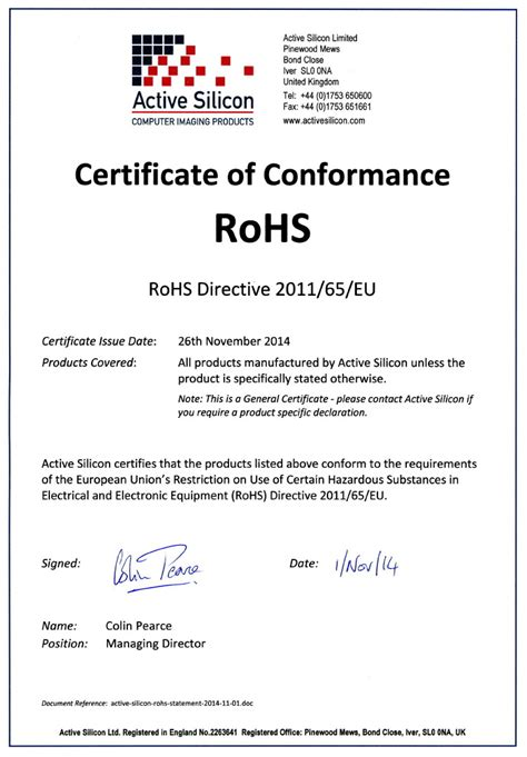 certificate of conformity template eu rohs certificate of compliance template templates