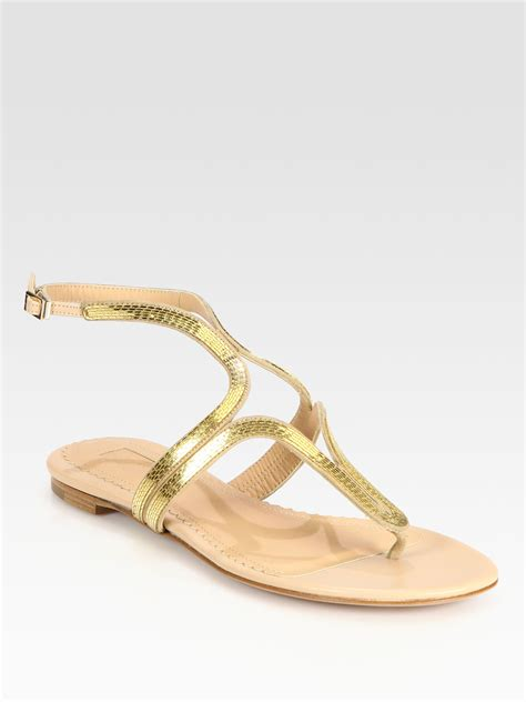 flat shoes gold aquazzura caipiroska flat sandals in gold lyst