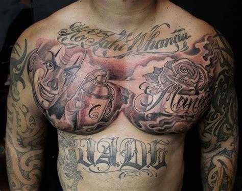 tattoo joker chest outline evil joker tattoo on man chest