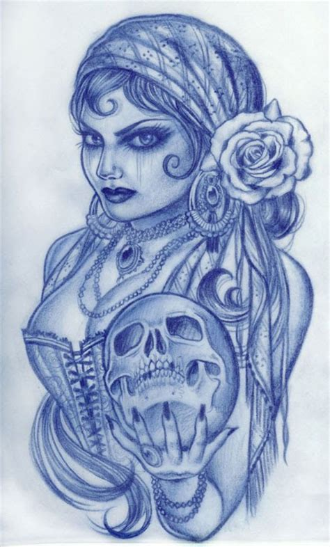 gypsy woman holding skull tattoo design tattoo love