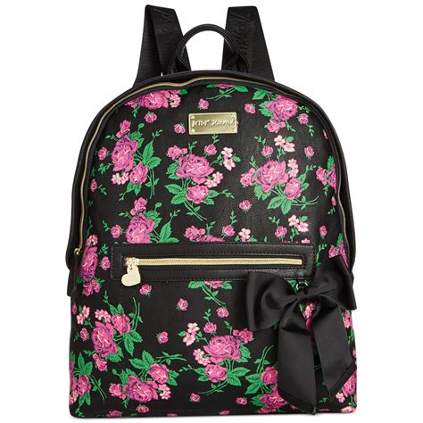 Betsey Johnson Quilted Backpack by Betsey Johnson Quilted Backpack In Floral Black Floral