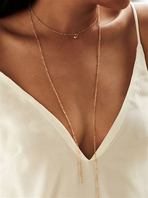 Necklace Layered Choker layered chain choker necklace shein sheinside