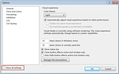 reset visual studio ide settings walkthrough create a simple application with visual c or