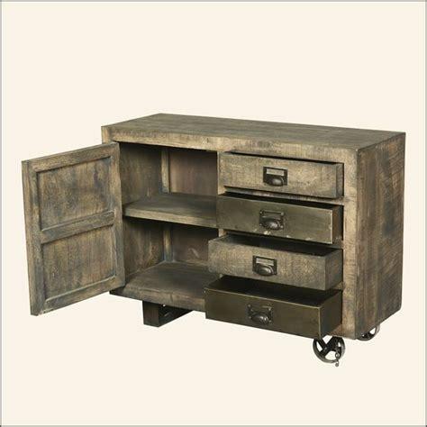 Modern Rustic Reclaimed Wood Rolling Modern Rustic Industrial Rolling Solid Wood Storage