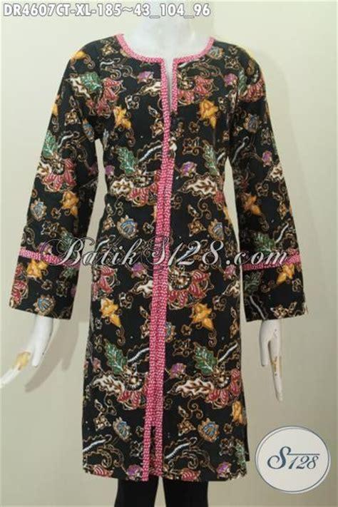 Dress Dr Dress Wanita Katun Hitam Limited dress batik kancing depan dasar hitam motif bunga kwalitas
