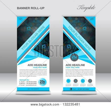 blue roll banner stand template vector photo bigstock