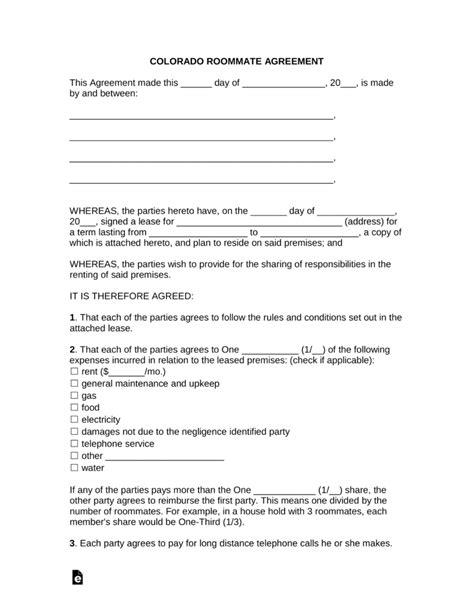Free Colorado Roommate Room Rental Agreement Template Rental Agreement Template Colorado