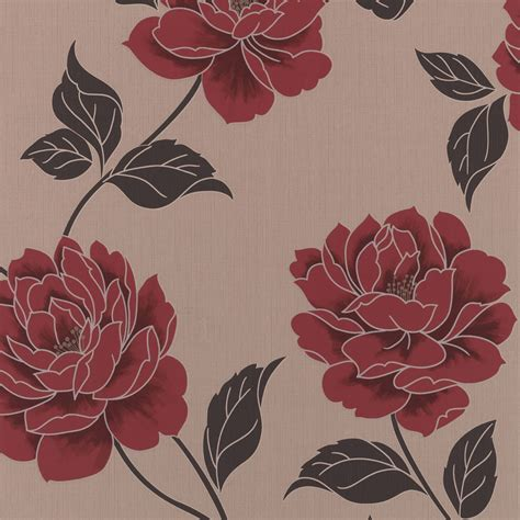 colours ella cream red floral wallpaper departments