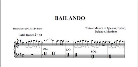 tutorial piano canzoni facili spartito pianoforte di bailando enrique iglesias