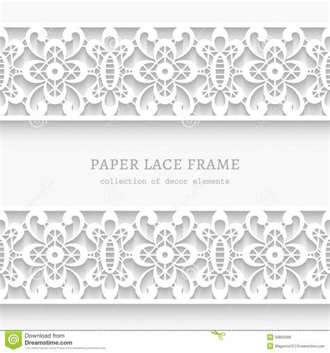How To Make Paper Lace - paper frame with lace borders stock vector image 50855066
