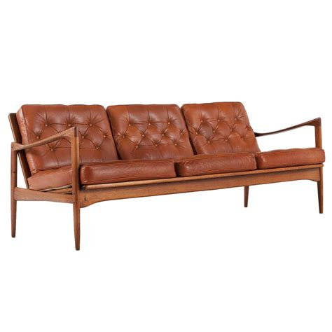 Ib Kofod Larsen Sofa In Original Leather At 1stdibs