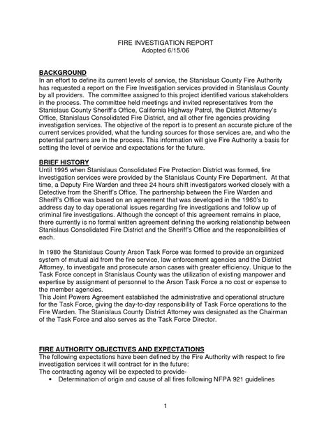 sample fire investigation report template best photos of investigation report template sample workplace investigation report template 4 free pdf