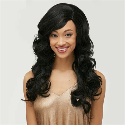 body wave hair with bangs 2018 long body wave side bang front lace human hair wig