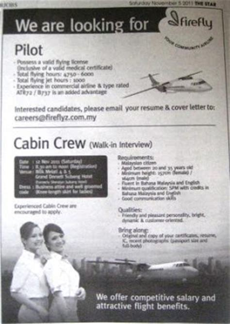to be air hostess firefly cabin crew walk in