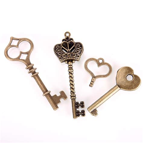 Handmade Bronze Jewelry - 69pcs antique vintage bronze skeleton key charms set diy