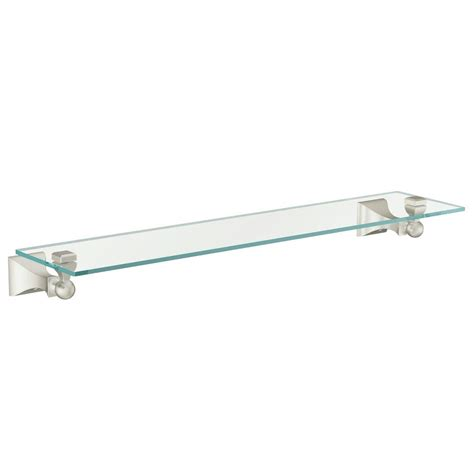 Glass Bathroom Shelves Brushed Nickel Moen Retreat 5 9 10 In L X 2 16 25 In H X 22 In W Wall Mount Clear Glass Shelf In Brushed